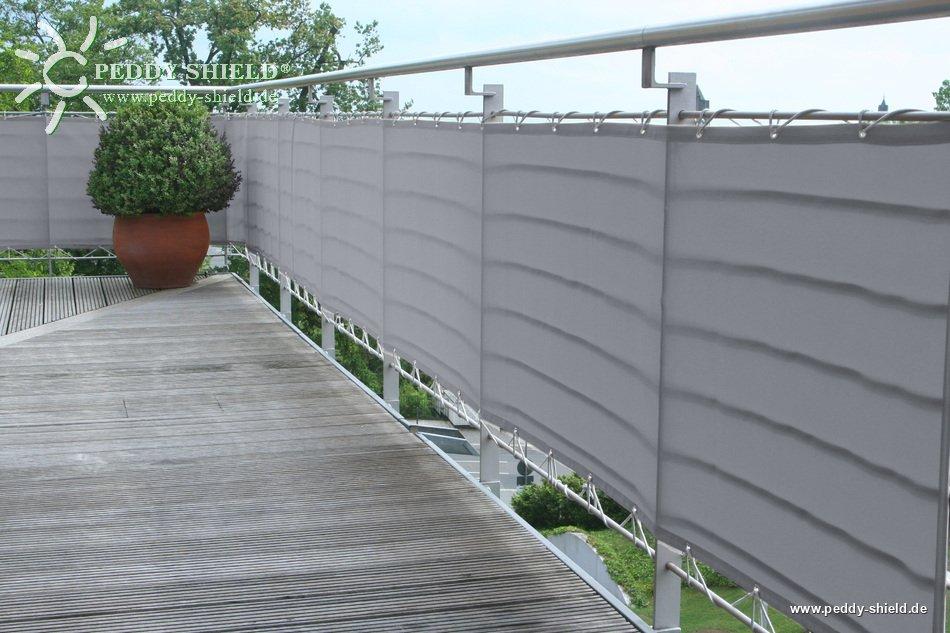 balkonverkleidung b90xl300 cm farbe uni hell silbergrau sichtschutz f r balkon und terrasse. Black Bedroom Furniture Sets. Home Design Ideas
