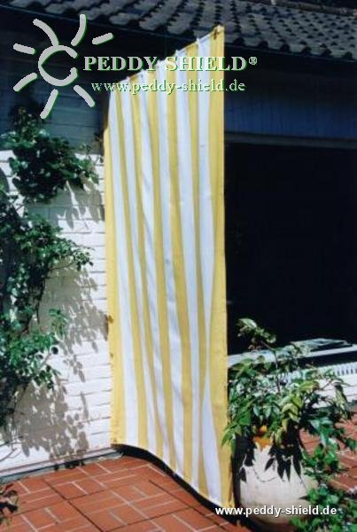 senkrecht sonnensegel 230x140 cm blockstreifen gelb wei komplett mit seilspanntechnik universal. Black Bedroom Furniture Sets. Home Design Ideas